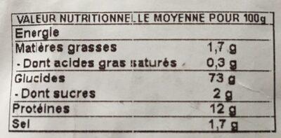 Grosse boule biologique - Informations nutritionnelles - fr