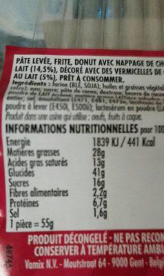 Donut Sucré - Informations nutritionnelles