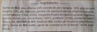 Mini fougasse chorizo - Ingredients