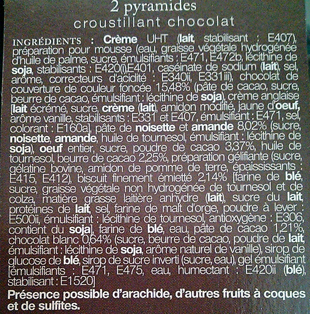 Pyramide Décongelé *2 Croustillant Chocolat - Ingredients