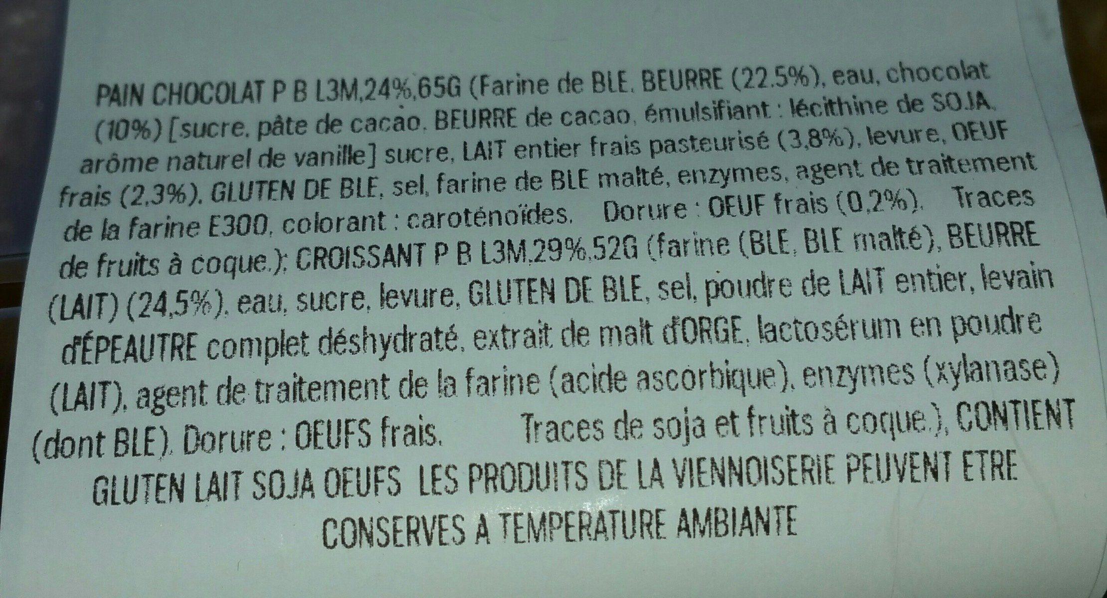 Pains au chocolat L3M - Ingredients