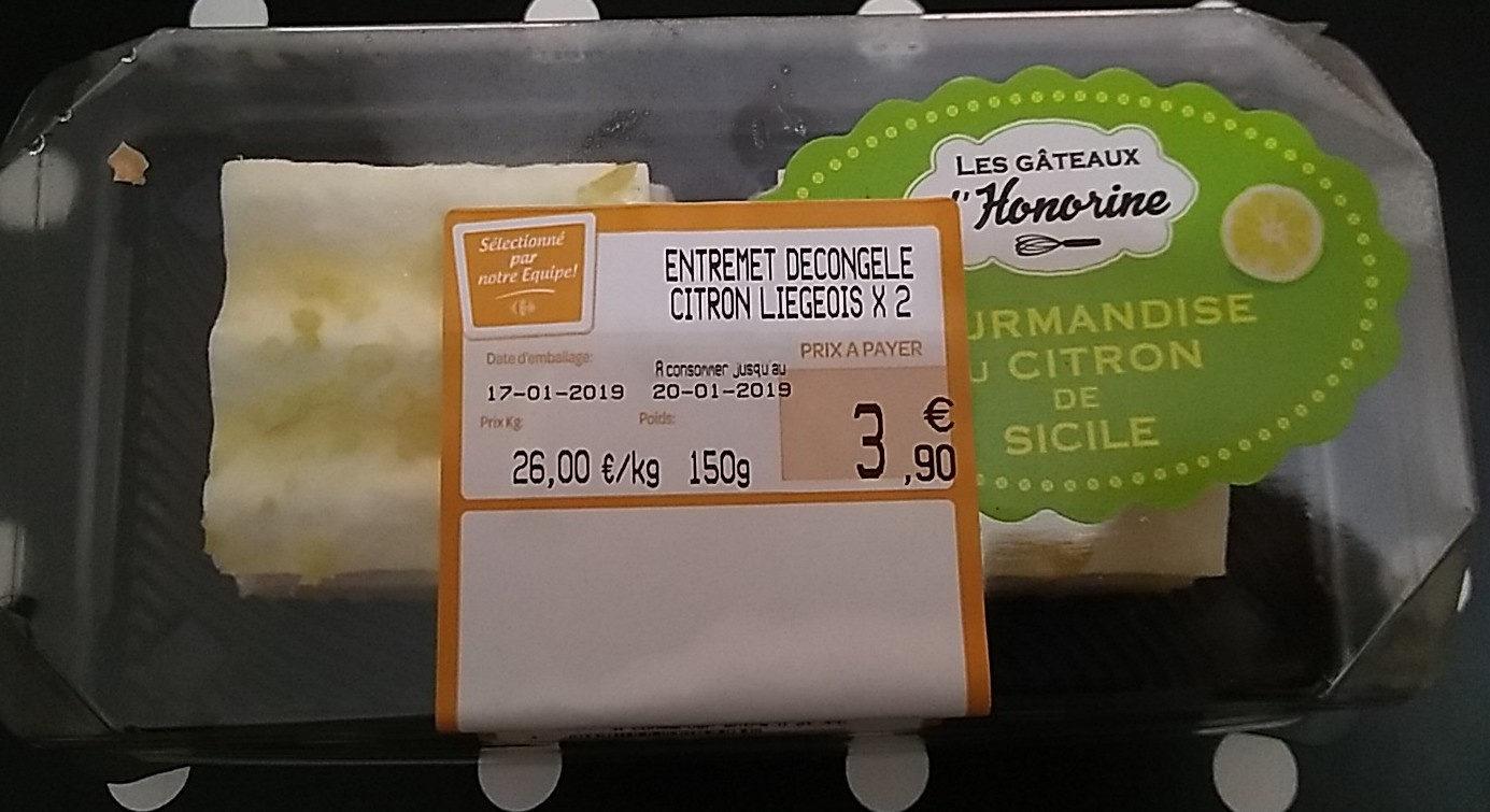 Entremet décongelé citron liégeois x 2 - Produto - fr