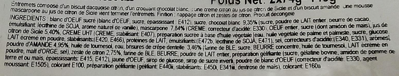 Entremet décongelé citron liégeois x 2 - Ingredientes - fr