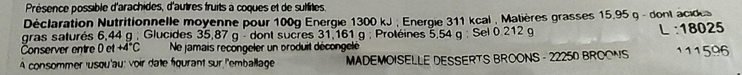 Entremet décongelé citron liégeois x 2 - Informação nutricional - fr