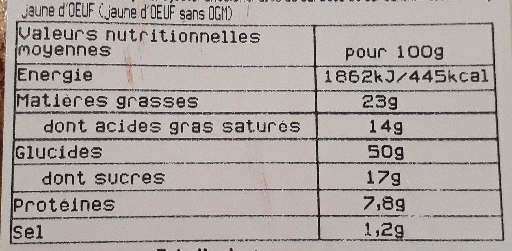 Pain raisin - Informations nutritionnelles - fr