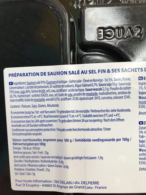 Sashimi de saumon - Ingrédients - fr