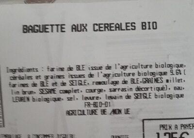 Baguette bio céréales - Nutrition facts