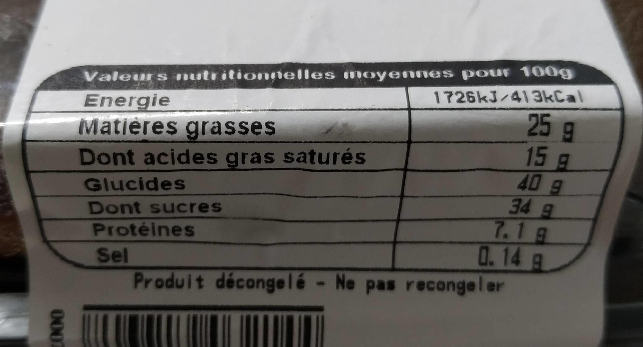 Fondant au chocolat - Nutrition facts - fr