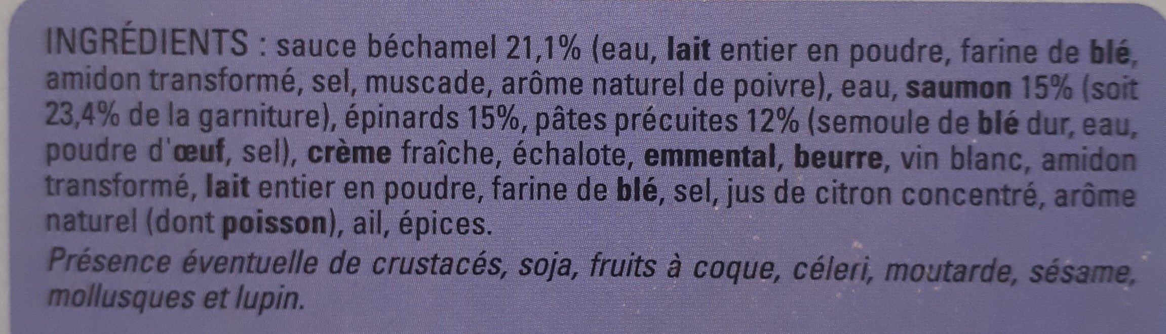 Lasagnes au saumon et épinards - Ingrediënten - fr