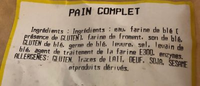 Pain complet - Ingrediënten - fr