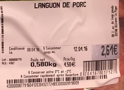 Languon de porc - Ingrédients - fr
