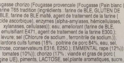 Fougasse tomates chorizo - Ingredients