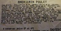 Sandwich Américain poulet - Voedingswaarden - fr