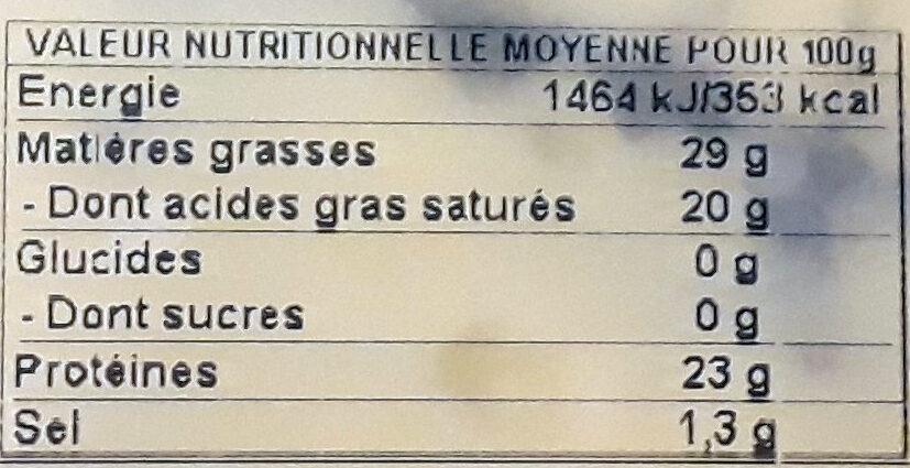 Morbier AOP - Informations nutritionnelles - fr