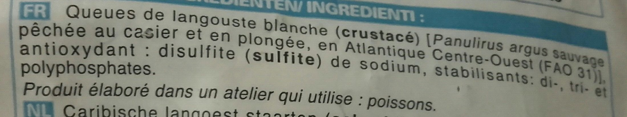 2 Queues de Langouste Blanche Crues - Ingredients - fr