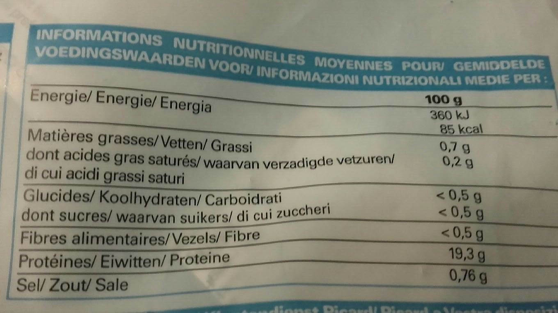 2 Queues de Langouste Blanche Crues - Nutrition facts - fr