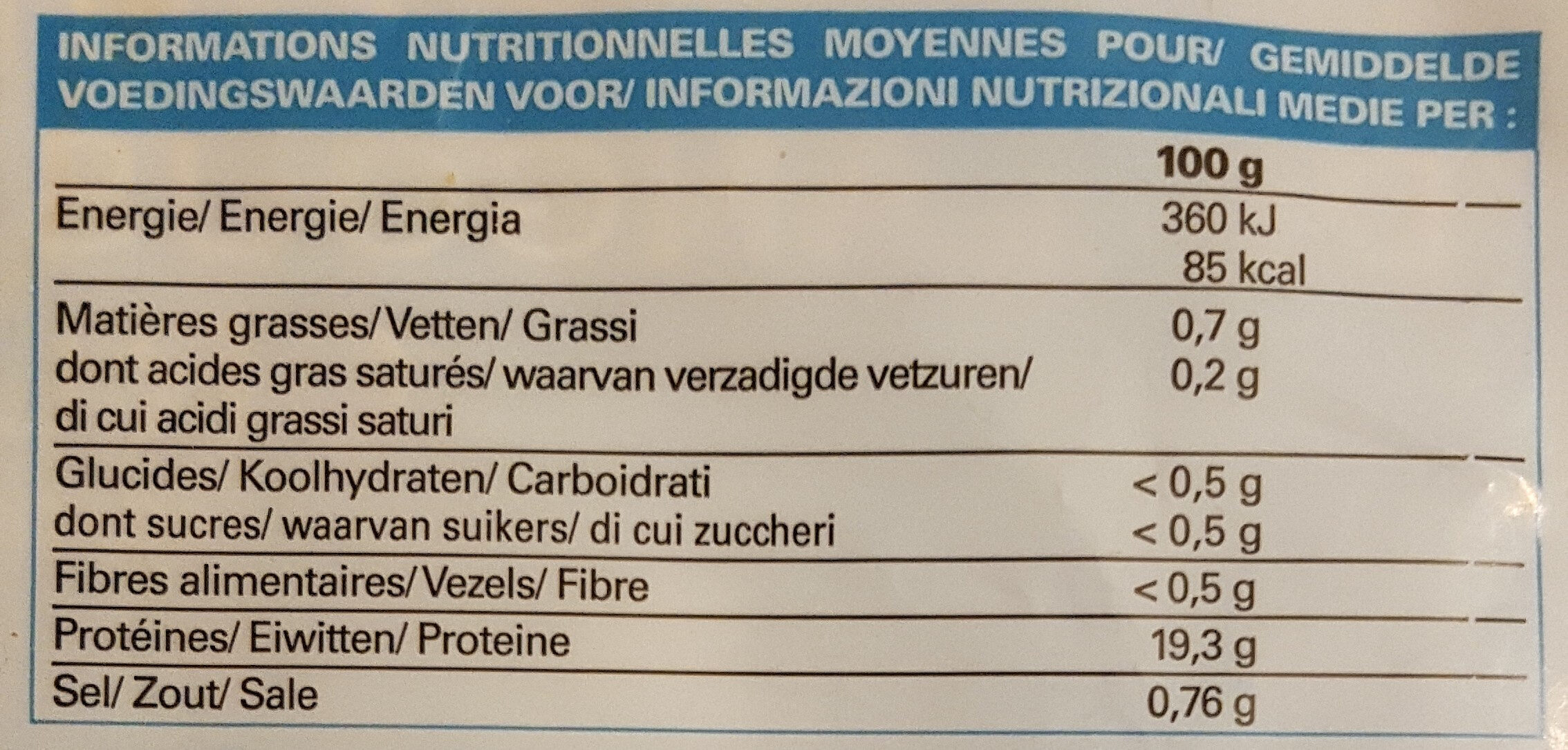 2 Queues de Langouste blanche crues - Informations nutritionnelles - fr