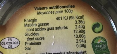 Yaourts des hautes-alpes - Voedingswaarden - fr