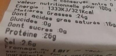 Mimolette Kroon Jeune - Nutrition facts