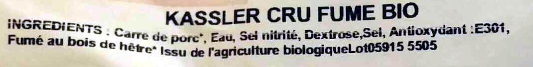 Kassler cru fumé bio - Ingrédients