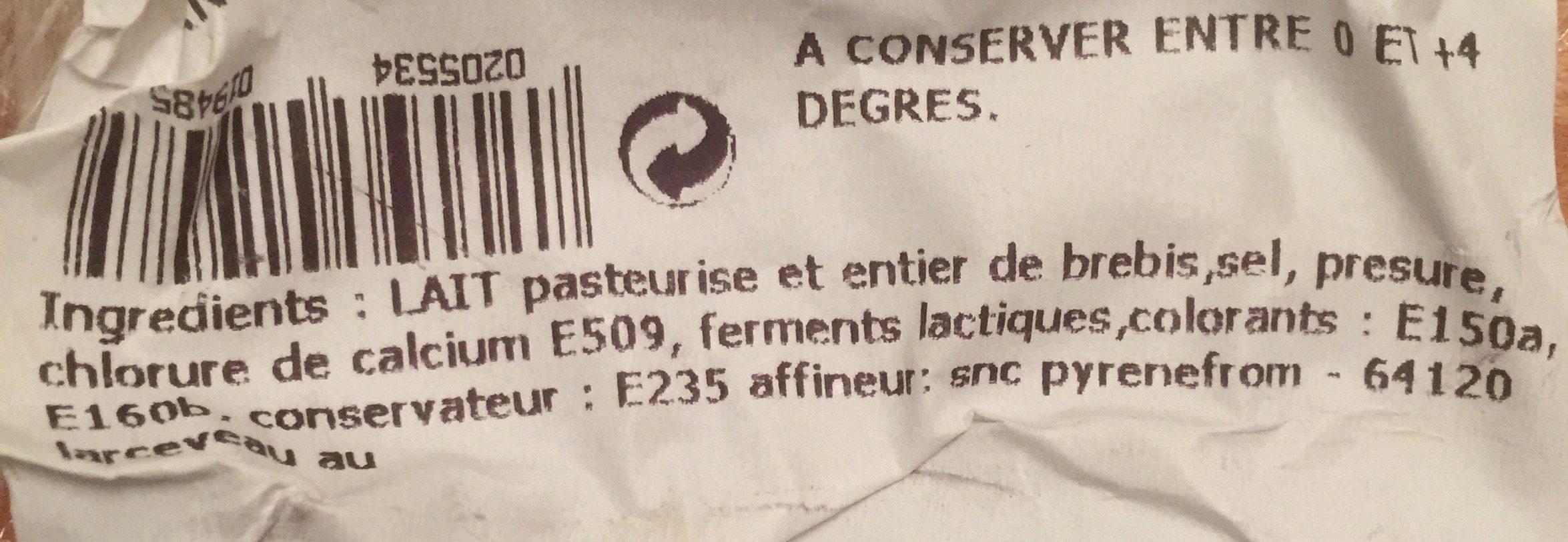 Ossau iraty aop 35,5% MG - Ingrediënten