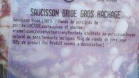 Saucisson Bride Gros Hachage - Ingredienti - fr