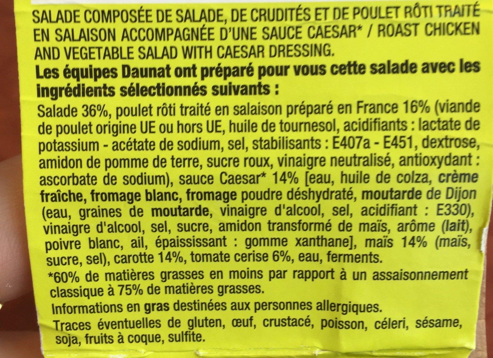 La Caesar poulet roti, salade et crudites - Ingrédients - fr