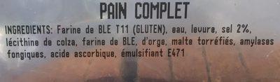 Pain complet - Ingredienti - fr