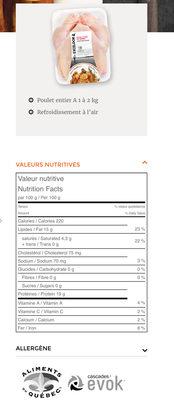 Poulet du Québec - Nutrition facts - fr
