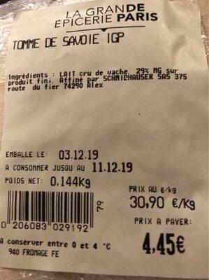 Tomme de savoie IGP - Valori nutrizionali - fr