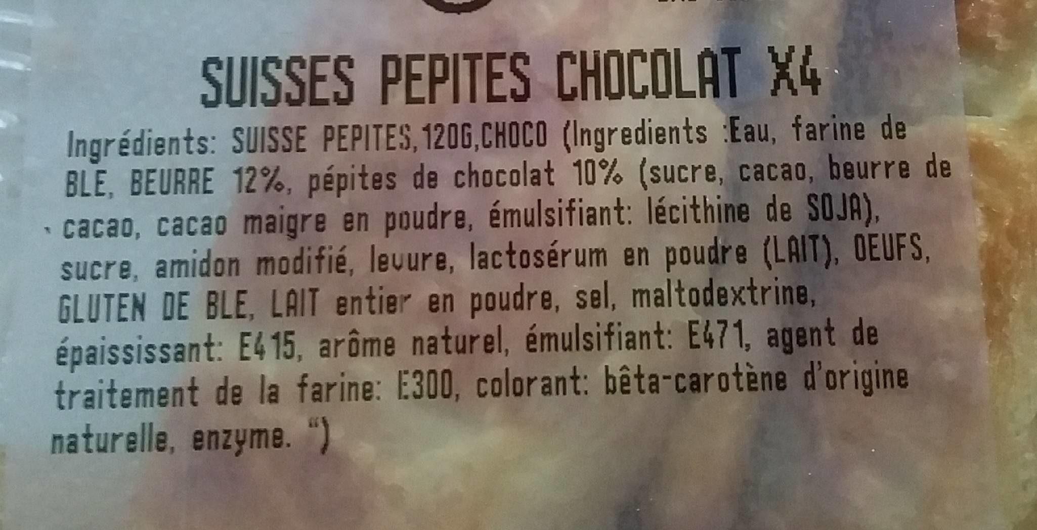 Suisses pépites chocolat x4 - Ingredienti - fr