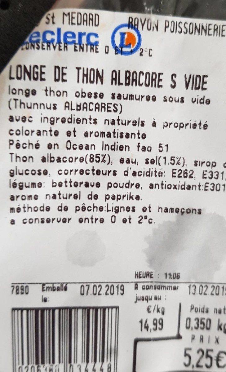 Longe de thon albacore sous vide - Ingrediënten