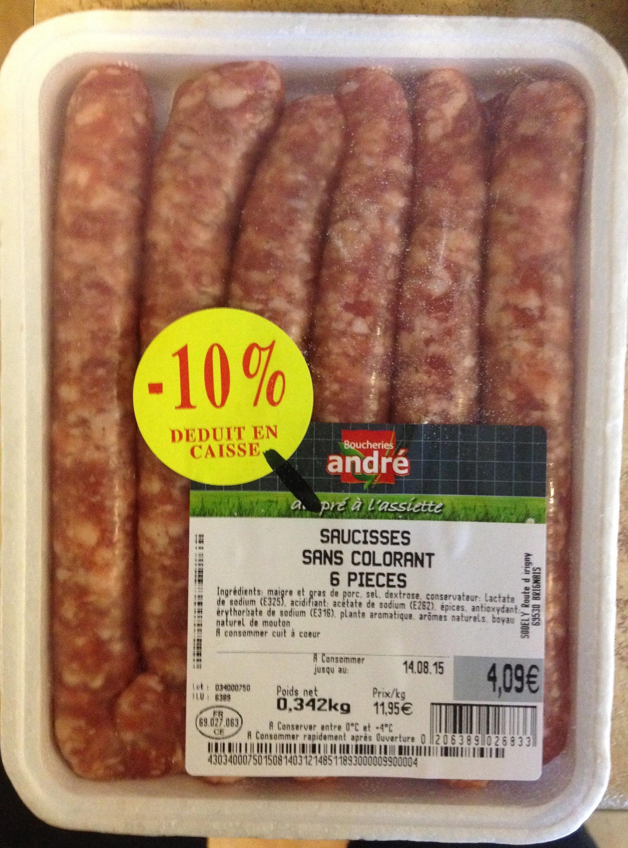 Saucisses sans colorant 6 pièces - Produit - fr