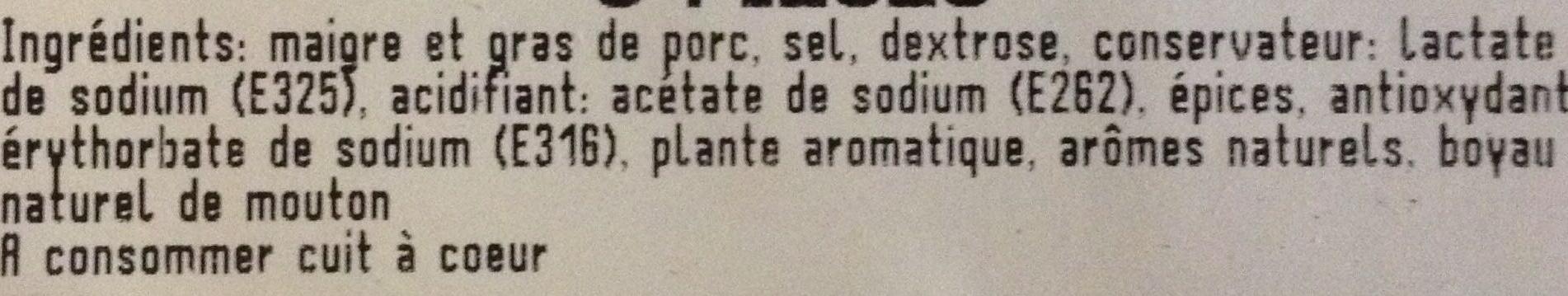 Saucisses sans colorant 6 pièces - Ingrédients - fr