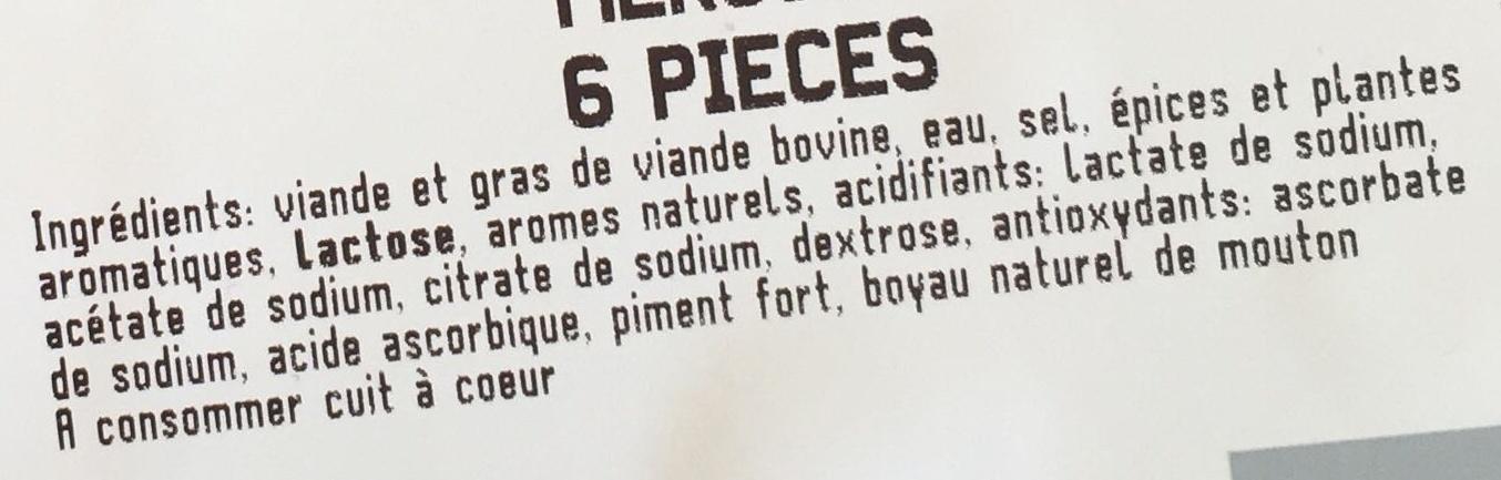 Merguez - 6 pièces - Ingrédients