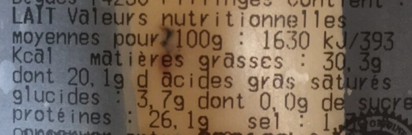 Beaufort - Nutrition facts