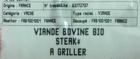 Viande bovine bio - steak* à griller - Ingredients
