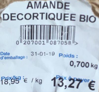 Amande decortiquee bio - Ingrédients - fr