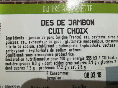 Des de jambon cuit - Ingrediënten - fr