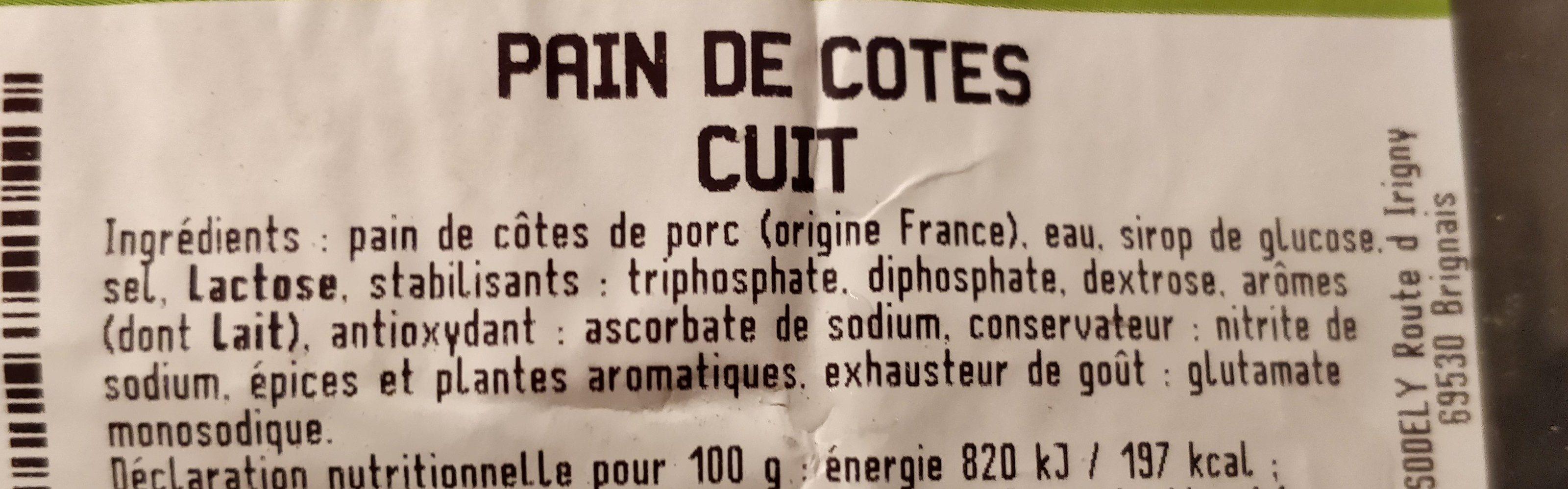 Pain de cotes cuit - Ingrediënten - fr