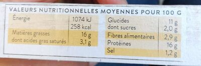 Sticks fromage - Informations nutritionnelles