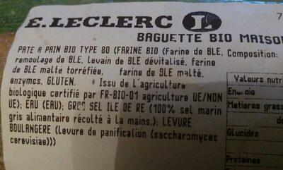 Baguette bio maison - Ingredients - fr