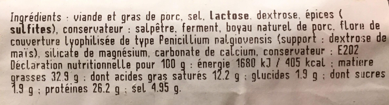Saucisse seche - Ingrédients