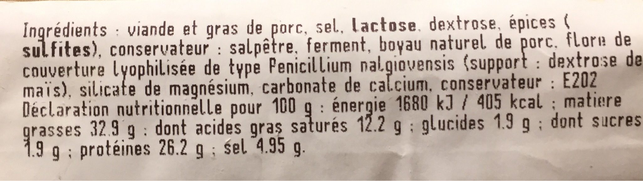 Saucisse seche - Informations nutritionnelles