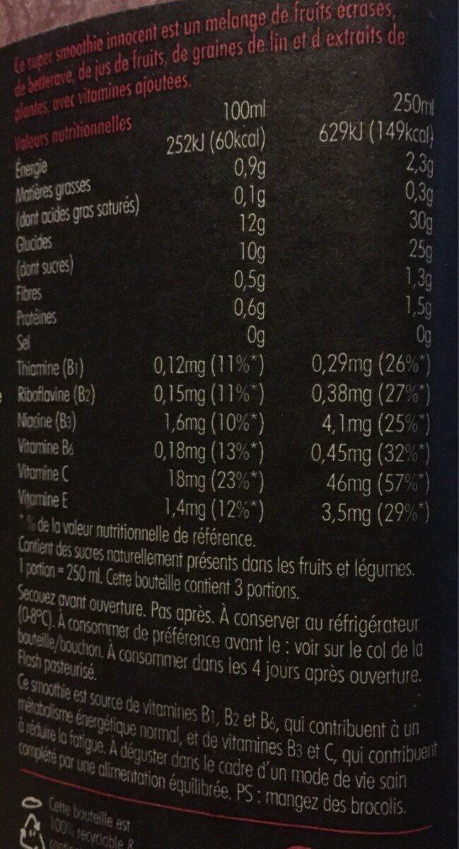 Super smoothie energise - Informations nutritionnelles - fr