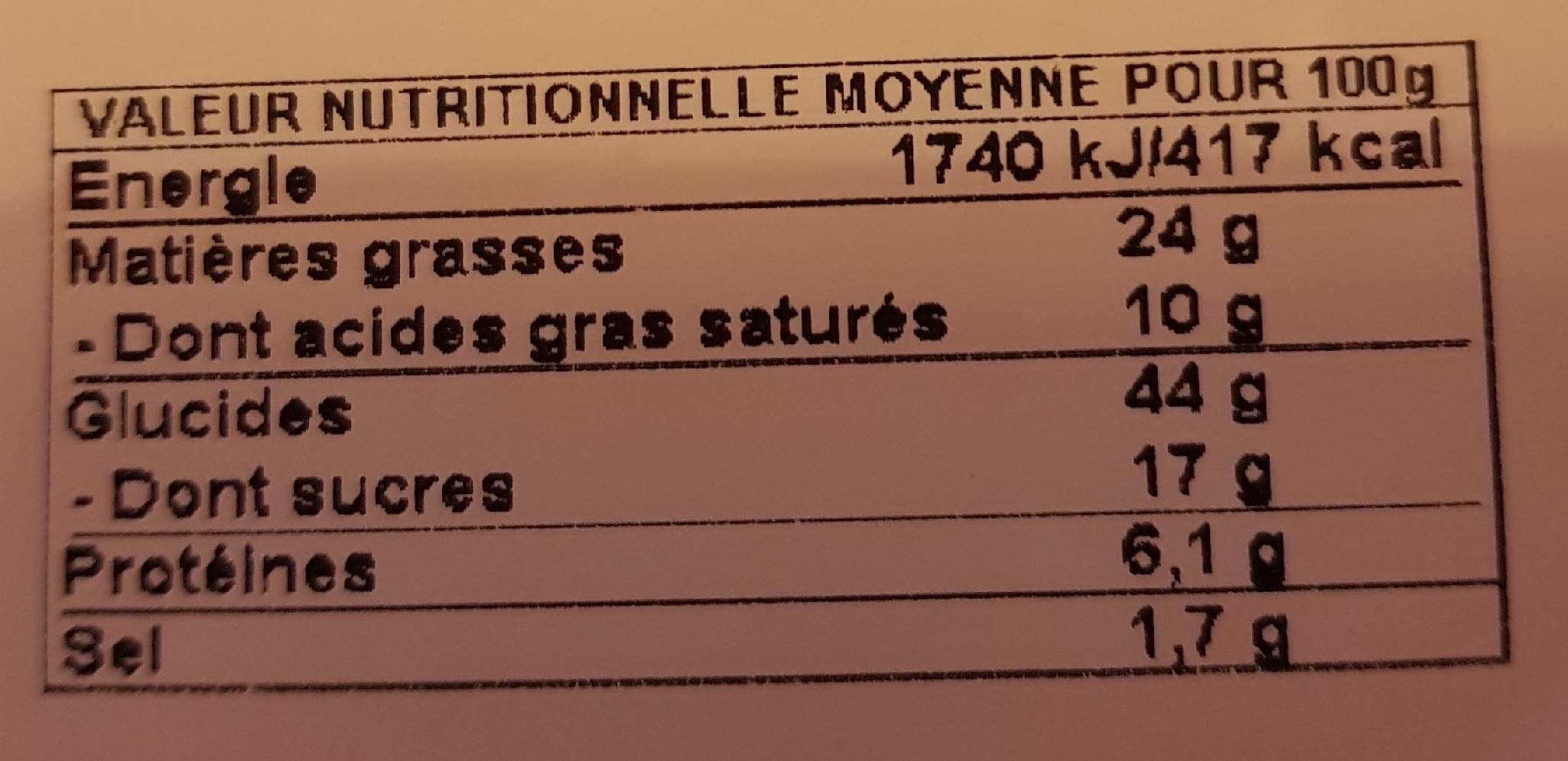 4 Doony's Sucre - Informations nutritionnelles