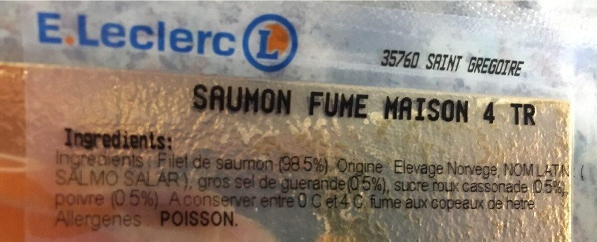 Saumon fumé maison - Ingrédients