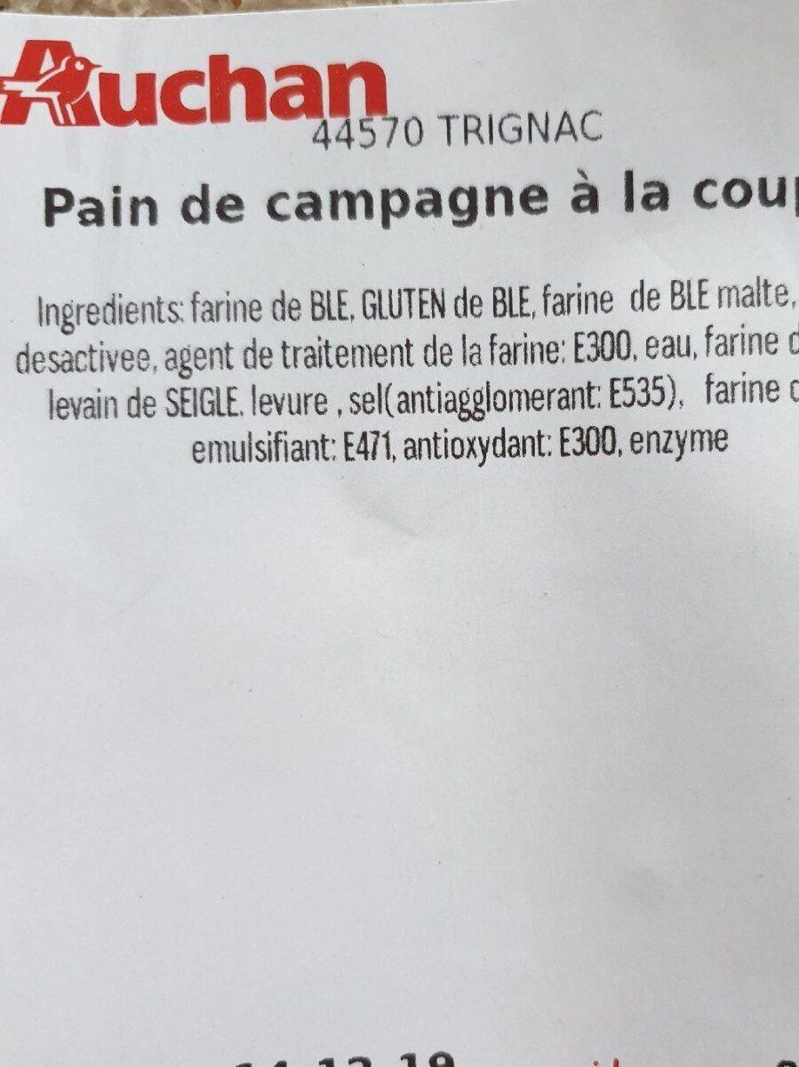 Pain de campagne à la coupe - Informations nutritionnelles - fr