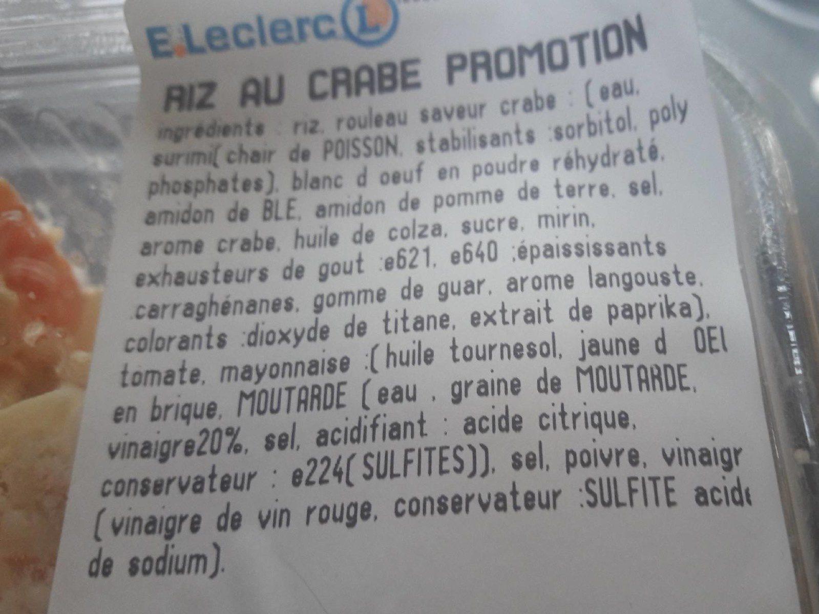 Riz au crabe - Ingrédients - fr