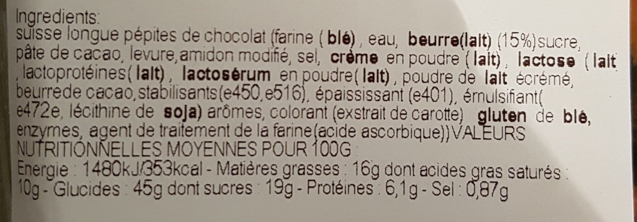 Suisses longues x4 pépites chocolat - Ingrédients